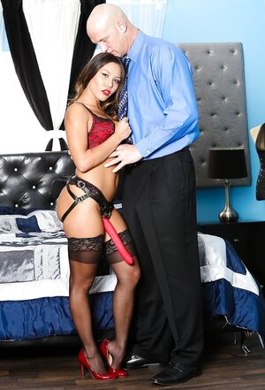 Bruiser impales Far eastern mistress before it actually is her turn to screw him with strapon