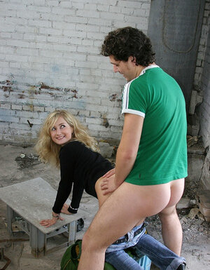 A duo lads picked up naughty blonde and additionally nailed her in all holes in the dirty building