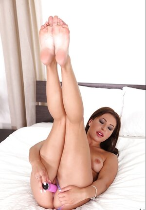 Lovely becomes aroused but pink sextoy is always available so she can use it