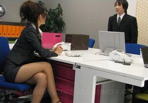 Short skirt of nerdy Japanese secretary can hardly hide her lingerie