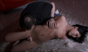Brunette loves these BDSM games and plus plays along with torturer on his carpet