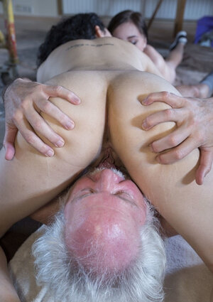 Brunette youthful women know what threesome blowjob and pussy-penetration mean